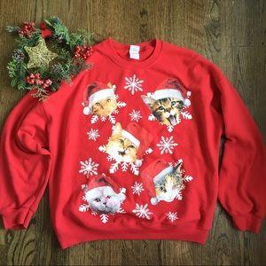 Christmas cat crewneck holiday theme sweatshirt